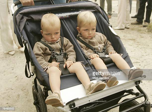 Prince Emmerick and Prince Nicolas from Belgium assists a party for Queen Paola's 70th birthday at Laeken Castle on September 02 2007 in the Belgian...