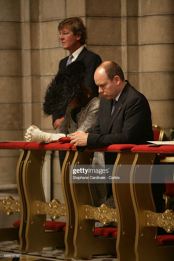 Prince Ernst August of Hanover and Prince Albert II of Monaco attends the enthronement mass in Monaco Cathedral. Prince Albert II, 47, took over as ruler of the principality following the death of his father, Prince Rainier in April.