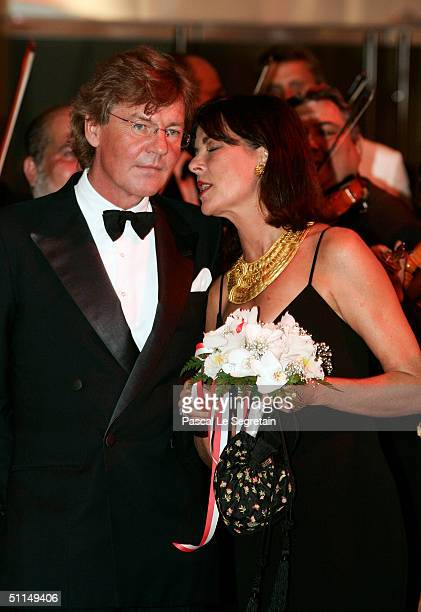 Prince Ernst August of Hanover and Princess Caroline of Monaco arrive at the Monte Carlo Red Cross Ball 2004 held at the Salle des Etoiles of the...