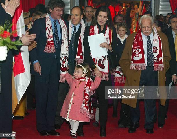 Prince Ernst August of Hanover his daughter Alexandra Prince Albert Princess Caroline of Monaco and Prince Rainier arrive at the 27th MonteCarlo...