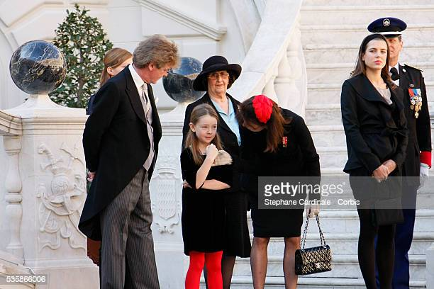 HRH Prince Ernst August of Hanover HRH Princess Alexandra of Hanover HRH Princess Caroline of Hanover and Charlotte Casiraghi during National Day in...