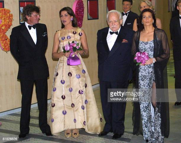 Prince ErnstAugust of Hanover and his wife Caroline the Prince Rainier and his daughter Stephanie pose 16 march 2002 as they arrive for the...