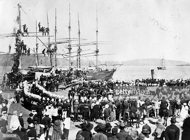 Prince Eugene Napoleon's remains are embarked on a ship in Durban