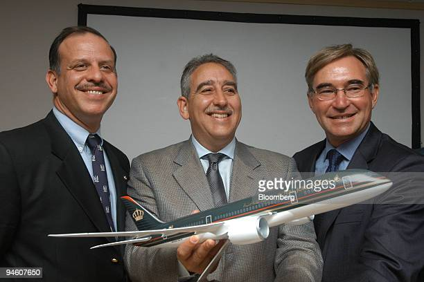 Prince Faisal bin Al Hussein of Jordan left Royal Jordanian Airlines Chief Executive Officer Samer Majali center and LCAL Chairman and Chief...