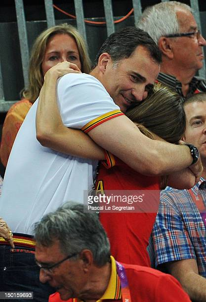 Prince Felipe and Crown Princess Letizia of Spain hug each other during the Women's Handball Bronze medal match between Spain and Korea on Day 15 of...