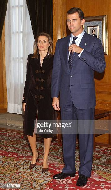 HRH Prince Felipe and HRH Letizia attend different audiences at La Reconquista Hotel in Oviedo the day before the Prince of Asturias Awards ceremony