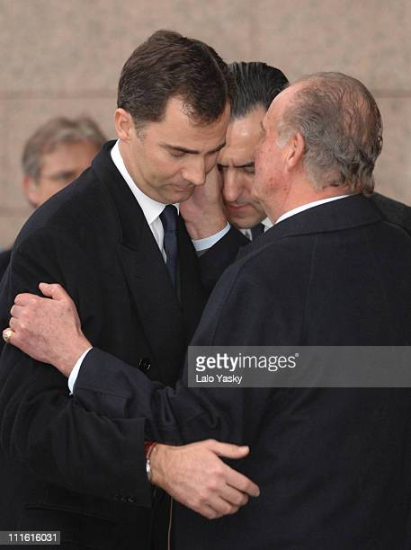 Prince felipe and King Juan Carlos during Erika Ortiz Funeral February 8 2007 at Tres Cantos Cemetry in Madrid Spain