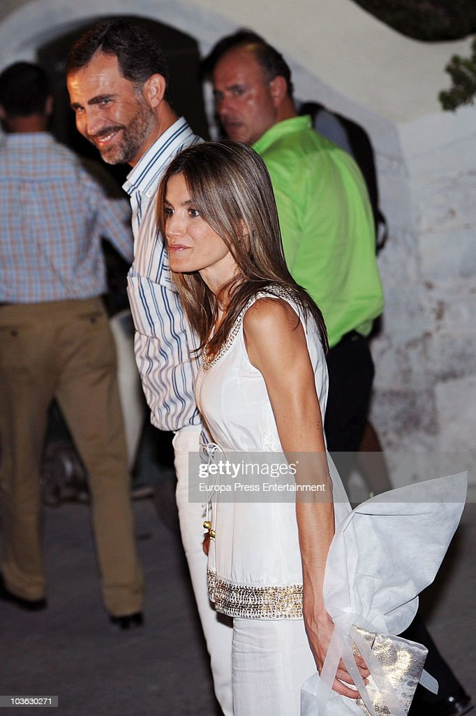 Prince Felipe and Princess Letizia attend a dinner for young people at a small greek restaurant after the pre-wedding reception at the Poseidon Hotel on August 24 2010 in Spetses, Greece. The small greek Island, three hours from Athens, is gearing up for the Royal Wedding of Prince Nikolaos of Greece and Tatiana Blatnik on August 25. Royals from all over Europe and the world are expected to attend the ceremony. Prince Nikolaos is the second son of King Constantine and Queen Anne-Marie while Tatiana is an events planner for Diane Von Furstenburg in London. Many of the VIP guests are expected to stay in the Poseidon Hotel in the town centre.