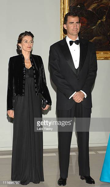 TRH Prince Felipe and Princess Letizia attend a gala dinner for the opening of the El Prado museum extension at Cason del Buen Retiro on October 29...