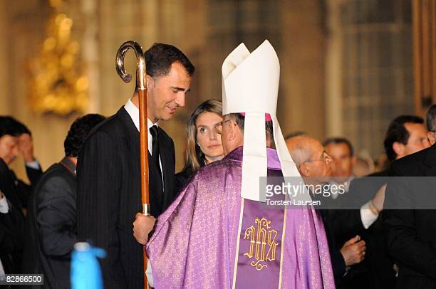 Prince Felipe and Princess Letizia attend a memorial service for the victims of the crash of Spanair flight JK 5022 September 17 2008 at the...
