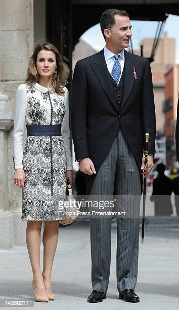 Prince Felipe and Princess Letizia attend 'Miguel de Cervantes 2011' Award given to Chilean writer Nicanor Parra at Alcala's University on April 23...