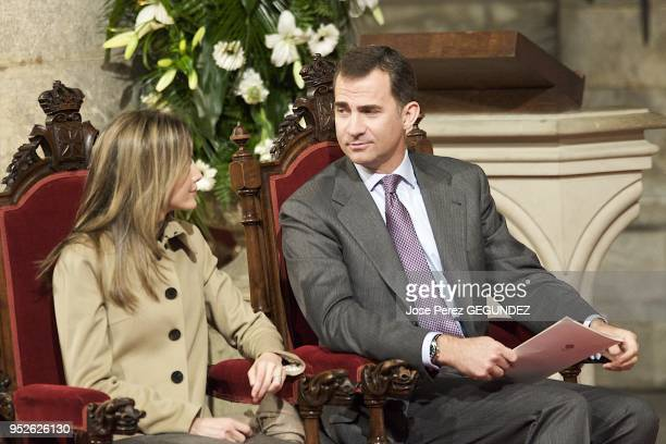 Prince Felipe and Princess Letizia attend the Event to celebrate the Year of St James 2010 at the Colegiata de Santa Maria in Roncesvalles Navarra...
