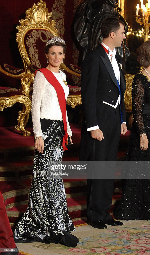 Prince Felipe and Princess Letizia attend the Gala Dinner in honour of the President of The Philippines Gloria Macapagal and her husband Jose Miguel Arroyo, at the Royal Palace on December 3, 2007 in Madrid, Spain