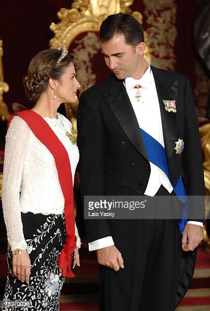 TRH Prince Felipe and Princess Letizia attend the Gala Dinner in honour of the President of The Philippines Gloria Macapagal and her husband Jose...