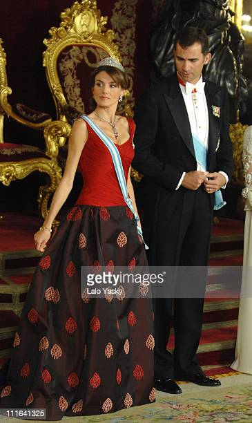 TRH Prince Felipe and Princess Letizia attend the Royal Gala Dinner in honour of Slovakian President Ivan Gasparovic and his wife Silvia at the Royal...