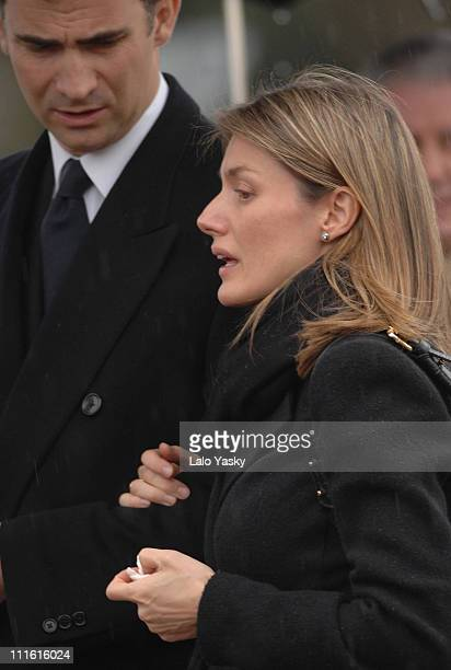 Prince Felipe and Princess Letizia during Erika Ortiz Funeral February 8 2007 at Tres Cantos Cemetry in Madrid Spain