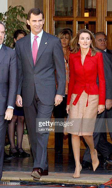 Prince Felipe and Princess Letizia during Prince Felipe and Princess Letizia of Spain Attend a 'Gaitas' Concert Prior to the Prince of Asturias...