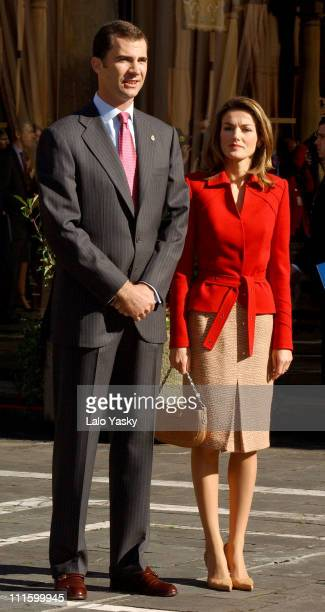 Prince Felipe and Princess Letizia during Prince Felipe and Princess Letizia of Spain Attend a Gaitas Concert Prior to the Prince of Asturias Awards...
