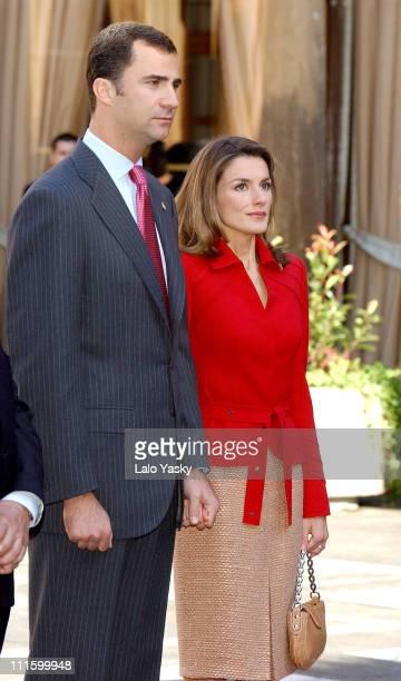 Prince Felipe and Princess Letizia during Prince Felipe and Princess Letizia of Spain Attend a 'Gaitas' Concert Prior to the Prince of Asturias...