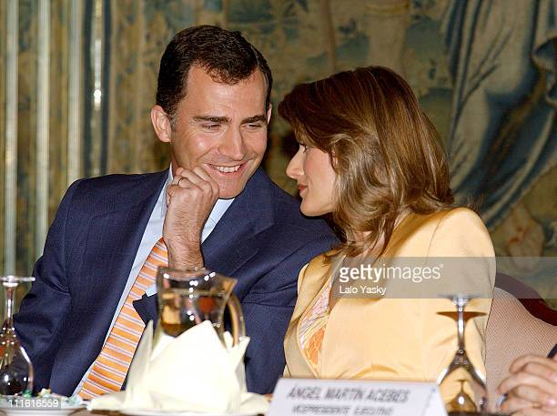 Prince Felipe and Princess Letizia during Prince Felipe and Princess Letizia Preside over the 30th Anniversary of the Grants Program at Foreign...