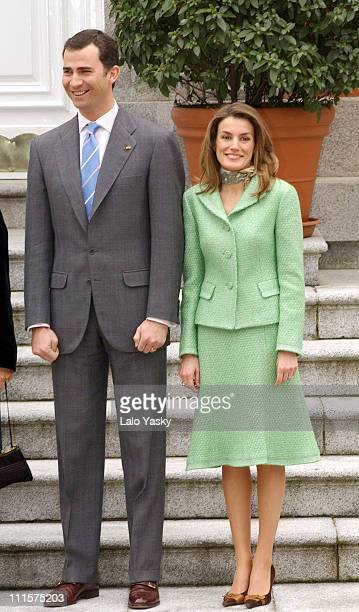 Prince Felipe and Princess Letizia during Spanish Royals Receive Mexican President Vicente Fox and Family at Zarzuela Palace in Madrid Spain