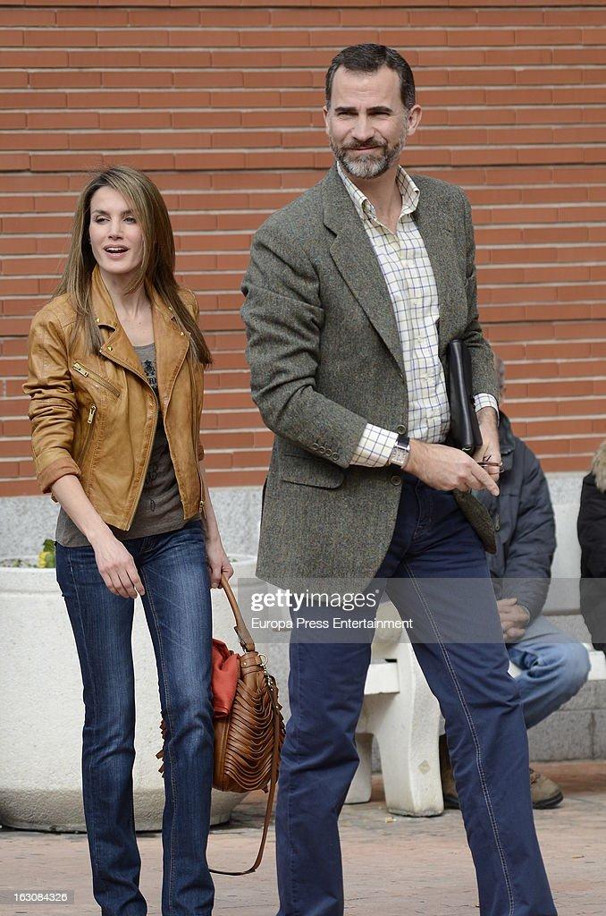 Prince Felipe and Princess Letizia King Juan Carlos at La Milagrosa Hospital on March 3, 2013 in Madrid, Spain.