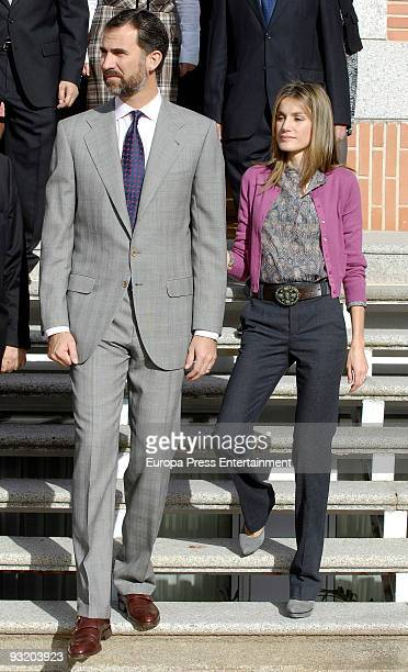 Prince Felipe And Princess Letizia meet with the winners of 'Madrid Press Asociation Awards' and the Youth Association of Navarra on November 18 2009...