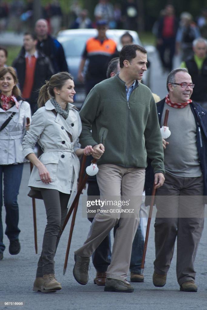 Felipe and Letizia visit the Cathedral of Santiago de Compostela. : News Photo
