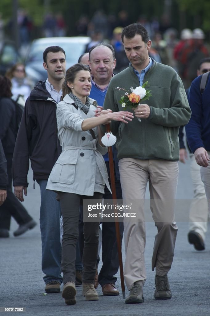 Felipe and Letizia visit the Cathedral of Santiago de Compostela. : News Photo