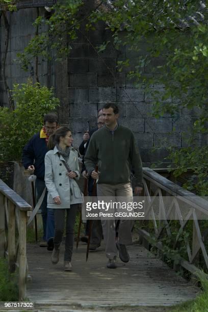 Prince Felipe and Princess Letizia of Asturias travel to Santiago de Compostela and walk the last kilometers of the Camino de Santiago to arrive at...