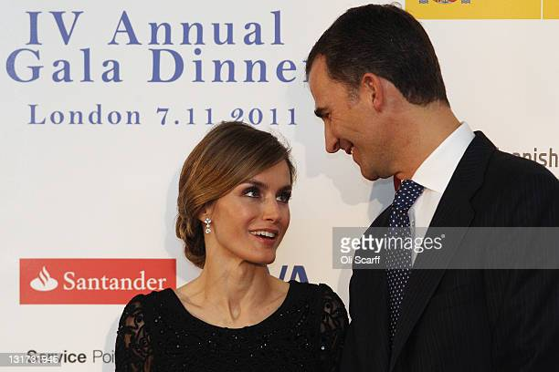 Prince Felipe and Princess Letizia of Spain attend a Gala Dinner arranged by the 'Spanish Chamber of Commerce in Great Britain' on November 7 2011 in...