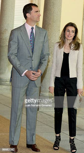 Prince Felipe and Princess Letizia of Spain attend an audience with 'Principe de Girona' Foundation team at La Zarzuela Palace on May 19 2010 in...