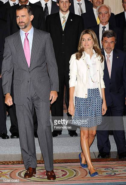 Prince Felipe and Princess Letizia of Spain attend audiences at Zarzuela Palace on September 3 2010 in Madrid Spain