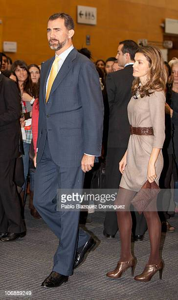 Prince Felipe and Princess Letizia of Spain attend 'Dia del Joven Emprendedor' 10th Anniversary at Parque Ferial Juan Carlos I on November 15 2010 in...