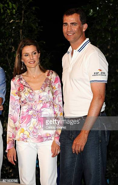 Prince Felipe and Princess Letizia of Spain attend the 27th Copa del Rey Mapfre Audi Sailing Cup Awards Celebration at Ses Voltes Cultural Center on...