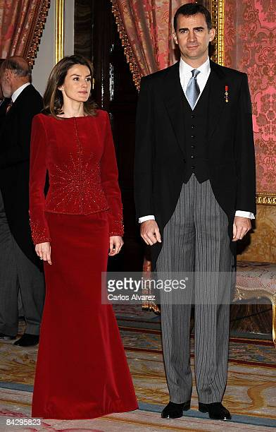 Prince Felipe and Princess Letizia of Spain attend the annual Foreign Ambassadors Reception at The Royal Palace on January 15 2008 in Madrid Spain
