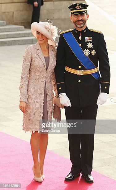 Prince Felipe and Princess Letizia of Spain attend the wedding ceremony of Prince Guillaume Of Luxembourg and Princess Stephanie of Luxembourg at the...