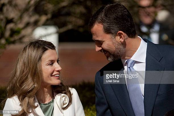 Prince Felipe and Princess Letizia of Spain during an official welcoming ceremony at the Israeli presidential residence on April 11 2011 in Jerusalem...