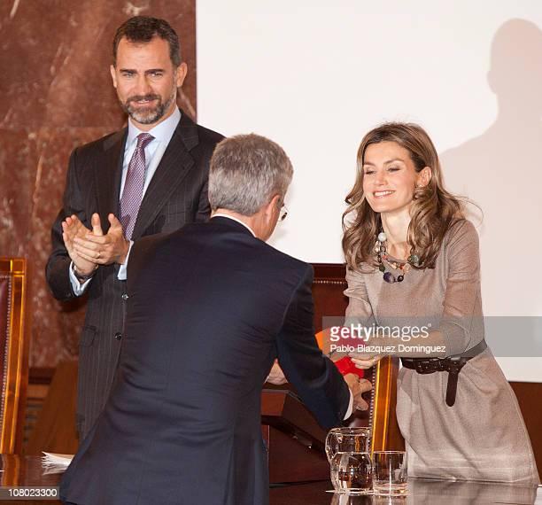 Prince Felipe and Princess Letizia of Spain give the 'Ciudad de la Ciencia y la Innovacion' Awards at CSIC Central Office on January 13 2011 in...
