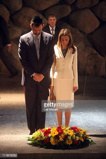 Prince Felipe and Princess Letizia of Spain lay a wreath in the 'Hall or Remembrances' in the Yad Vashem Museum on April 11 2011 in Jerusalem Israel...