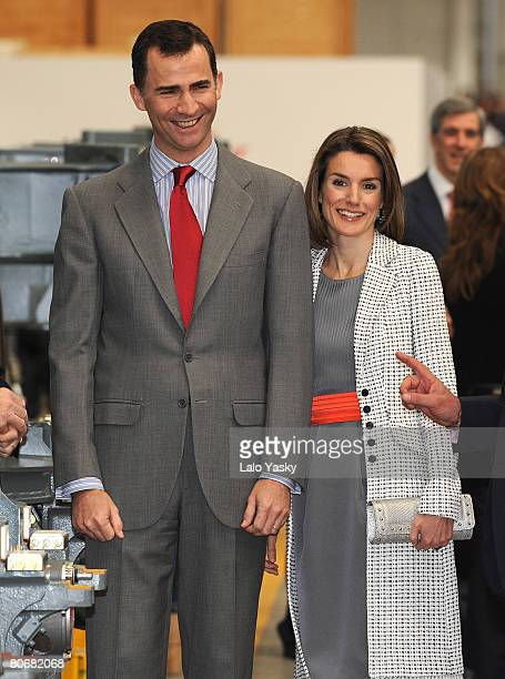 Prince Felipe and Princess Letizia of Spain visit TALGO high speed trains factory on April 15 2008 in Madrid Spain