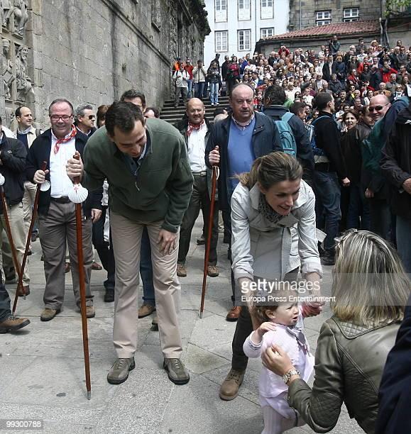 Prince Felipe and Princess Letizia of Spain walk the Way of Saint James on May 13 2010 in Santiago de Compostela Spain