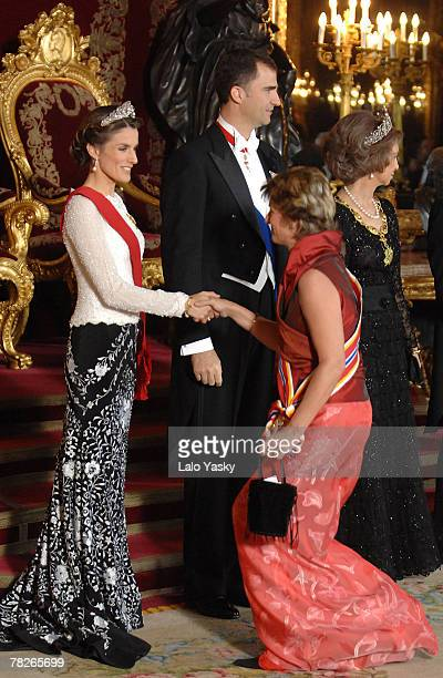TRH Prince Felipe and Princess Letizia receive guests at the Gala Dinner in honour of the President of The Philippines Gloria Macapagal and her...