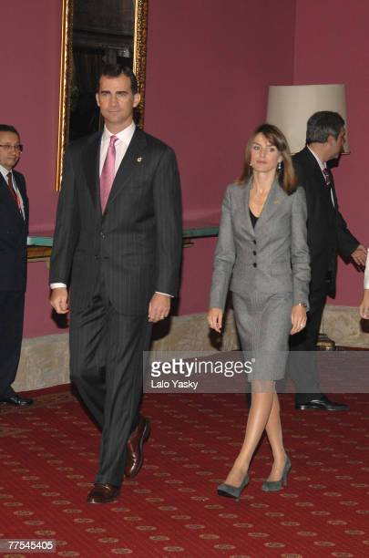 Prince Felipe and Princess Letizia receive in audience guests of Prince of Asturias Awards at the Reconquista Hotel on October 26 2007 in Oviedo Spain
