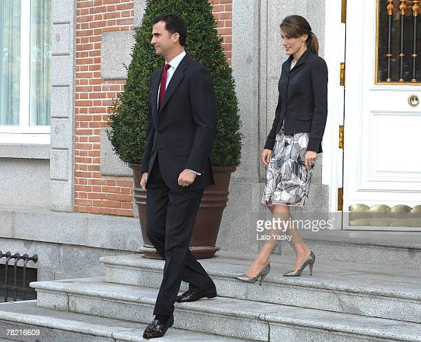 Prince Felipe and Princess Letizia receive the President of the Philippines Gloria Macapagal and her husband Jose Miguel Arroyo at Zarzuela Palace...