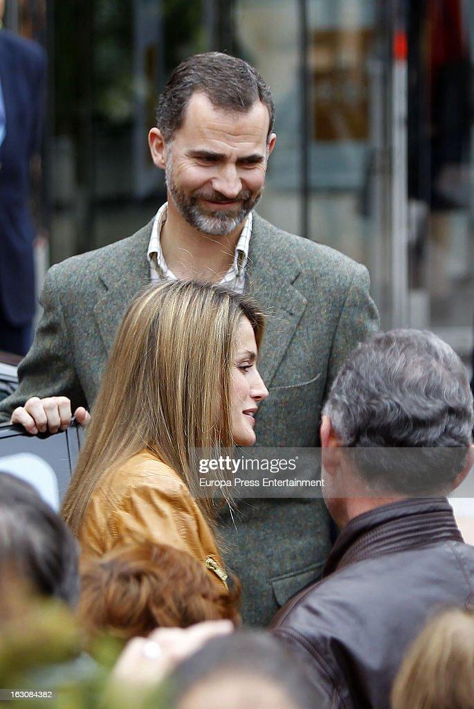 Prince Felipe and Princess Letizia visit King Juan Carlos at La Milagrosa Hospital on March 3, 2013 in Madrid, Spain.