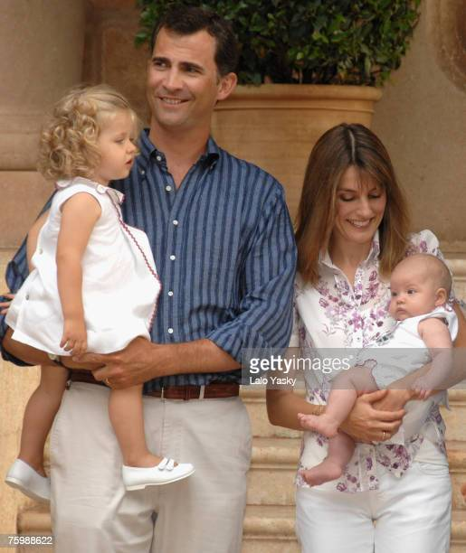 Prince Felipe and Princess Letizia with their daughters Leonor and Sofia pose for photographers at Marivent Palace on August 6, 2007 in Mallorca,Spain