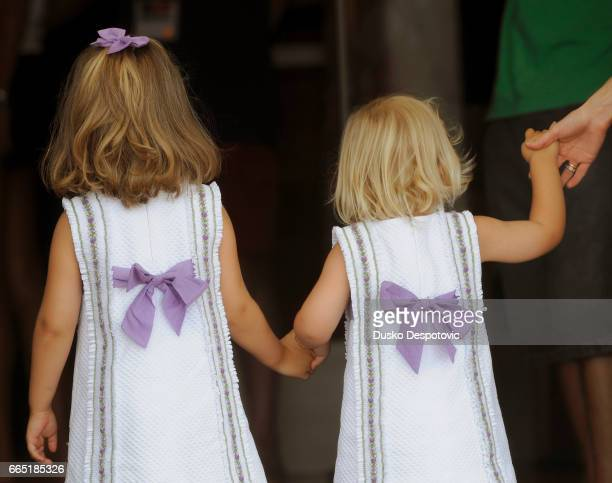 "Prince Felipe and Princess Letizia with two daughters, Leonor and Sofia after the last day's regatta on the ""28 Copa del Rey rase"""