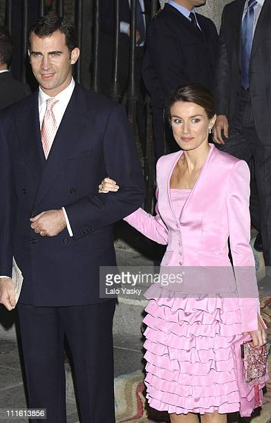 Prince Felipe and wife Princess Letizia of Spain during Spanish Royals Attend King Juan Carlos' Nephew's Wedding at Encarnacion Monastery in Madrid...