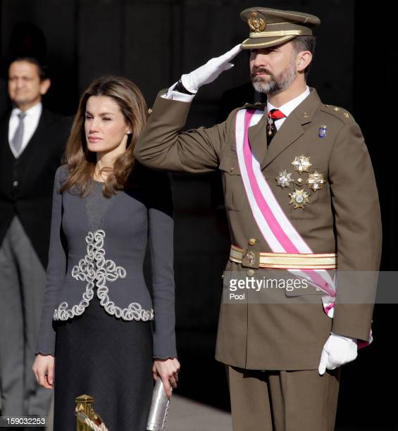 Prince Felipe de Borbon and Princess Letizia Ortiz attend the new year's military parade at the Royal Palace on January 6 2013 in Madrid Spain
